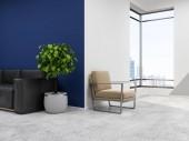 Podkrovní moderní kancelářské čekárnu s modré a bílé stěny, betonová podlaha, černá pohovka, béžové křeslo a strom v květináči. Luxusní interiér obývacího pokoje. 3D vykreslování vysmívat se
