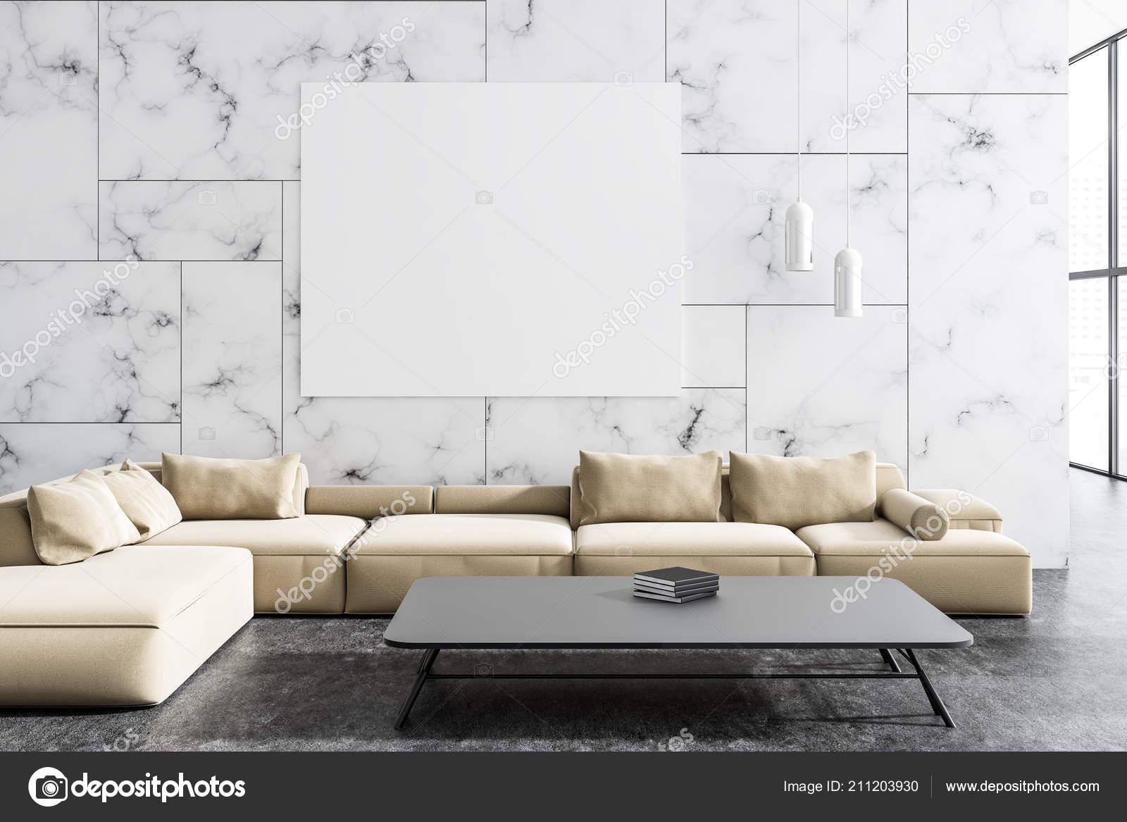 Modern Living Room Interior White Marble Walls Concrete Floor Beige