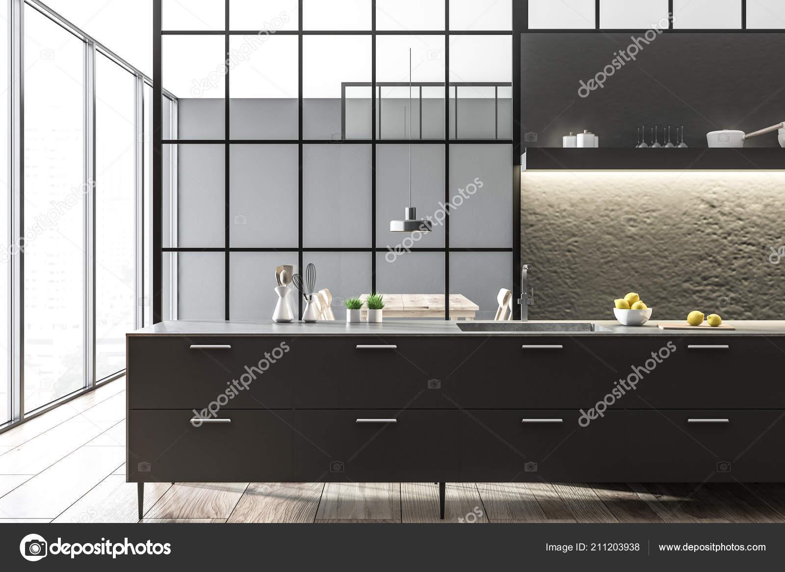 Wnętrze Kuchni Nowoczesne Szare ściany Panoramiczne Okna