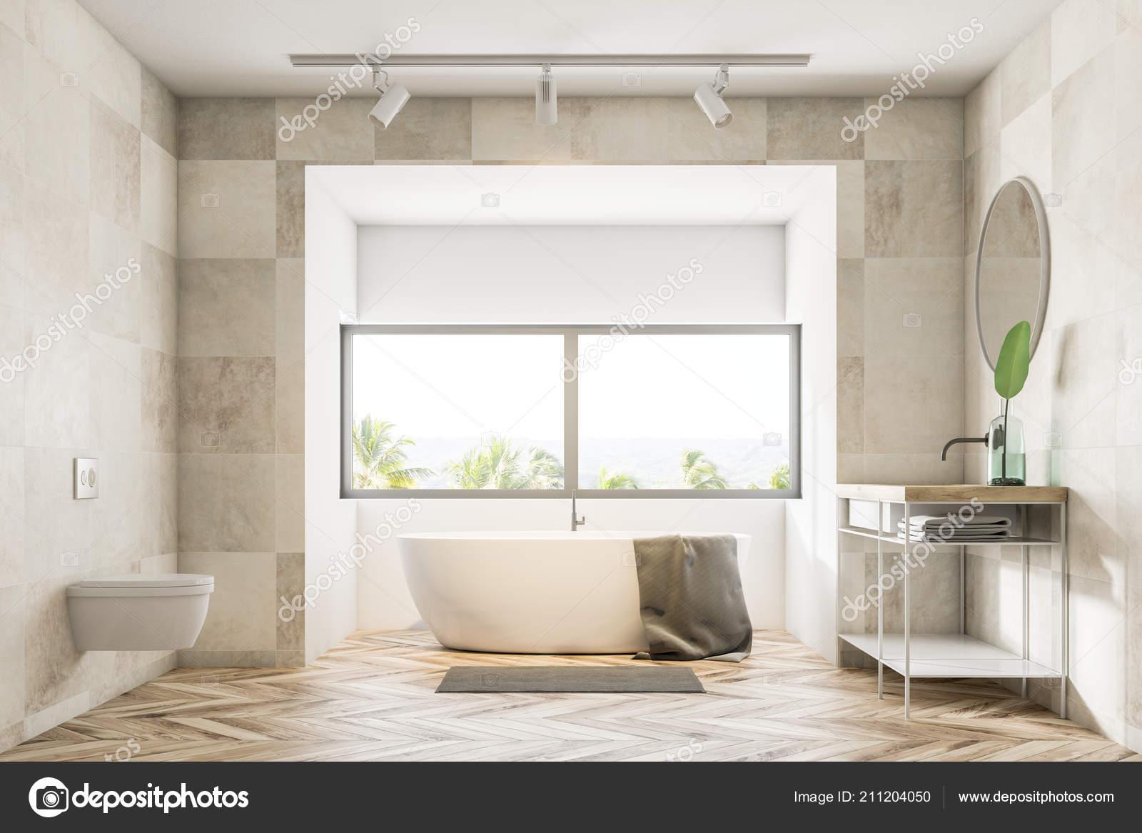 badezimmer einrichtung mit beige fliesen w nde holzfu boden eine badewanne unter stockfoto. Black Bedroom Furniture Sets. Home Design Ideas