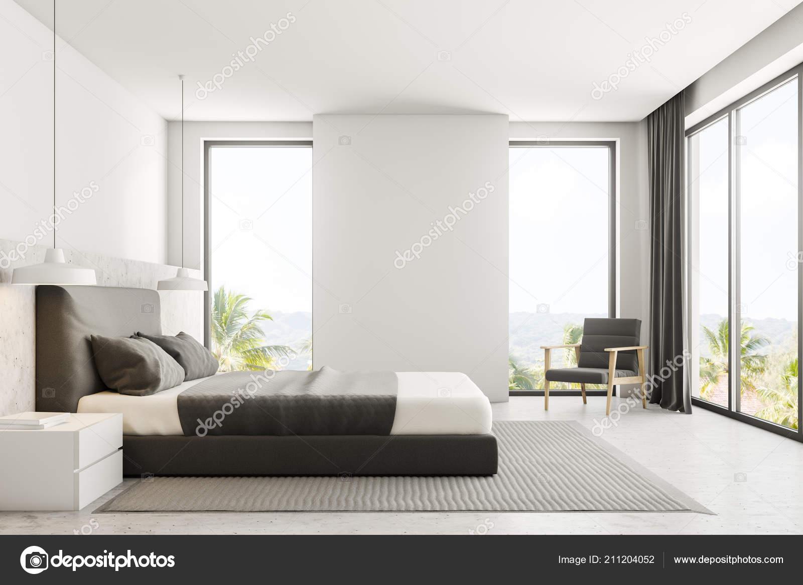 Luxe Slaapkamer Interieur : Luxe slaapkamer interieur met witte muren een betonnen vloer met