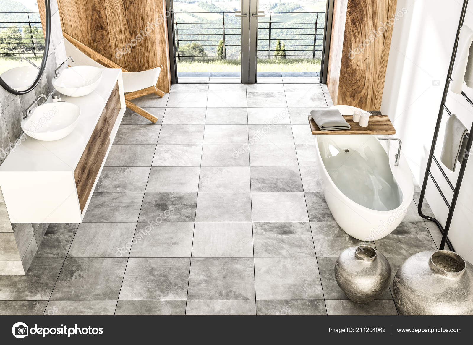 Vue Dessus Marbre Interieur Cloison Bois Salle Bains Avec