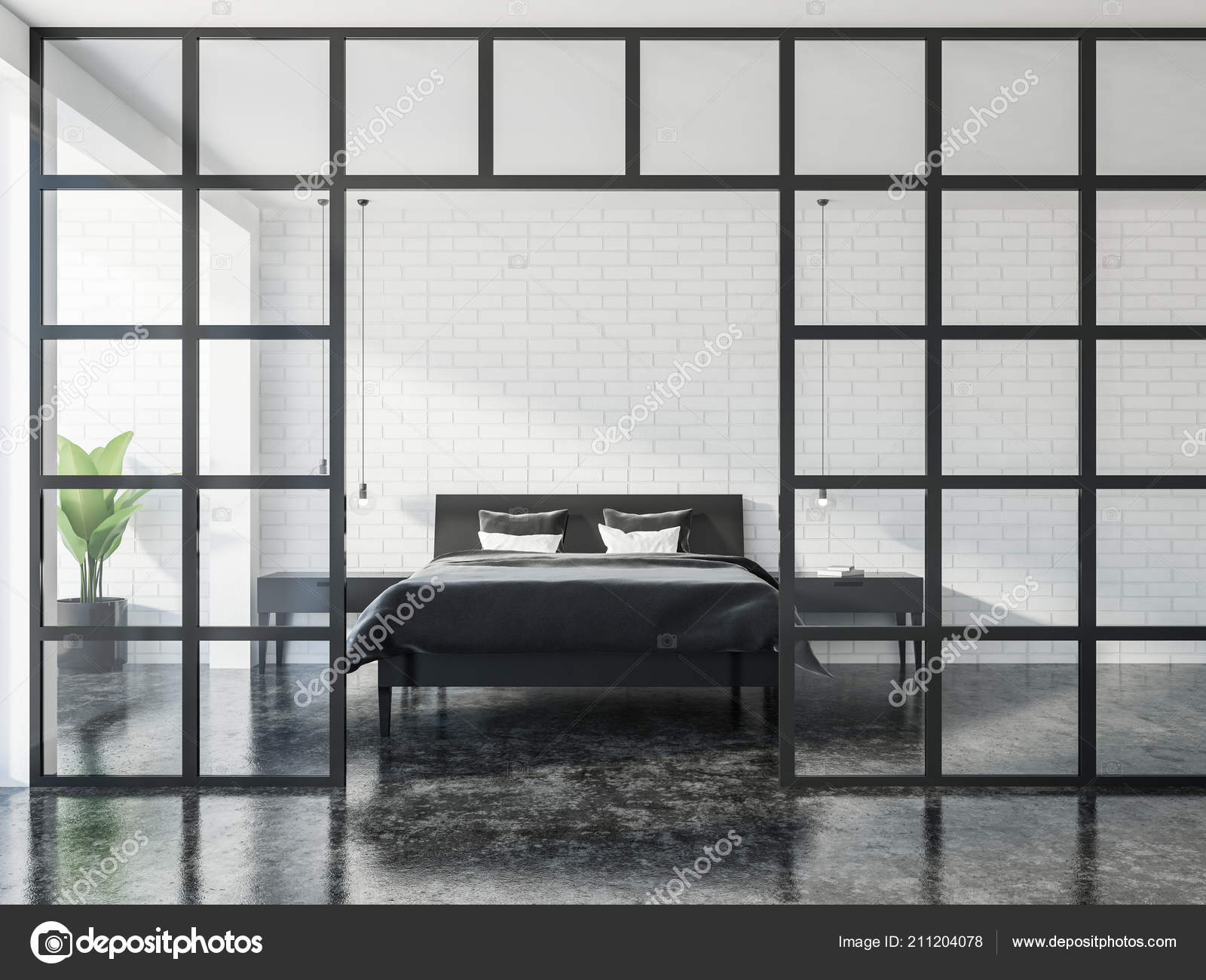 Modern Bedroom Interior White Walls Black Marble Floor Leather Master Stock Photo C Denisismagilov 211204078