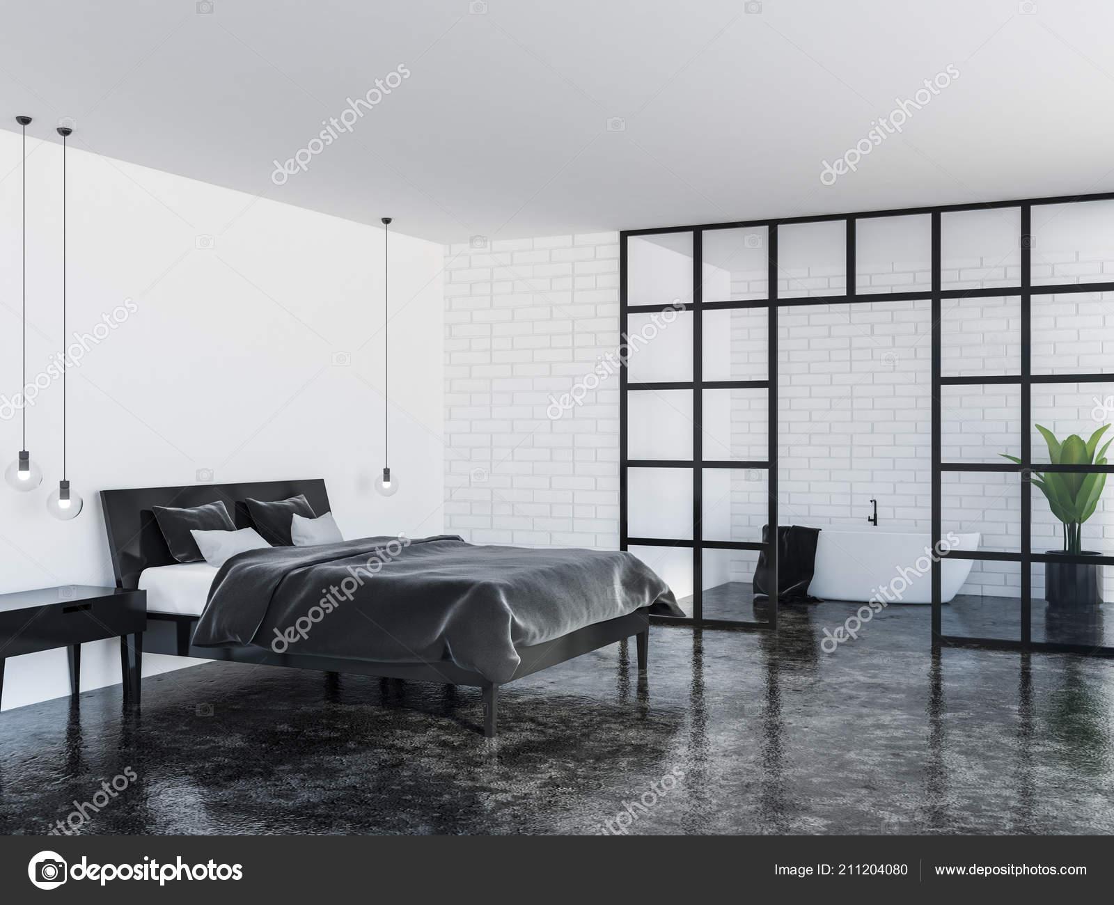 Modern Bedroom Corner White Walls Black Marble Floor Gray Master Stock Photo C Denisismagilov 211204080