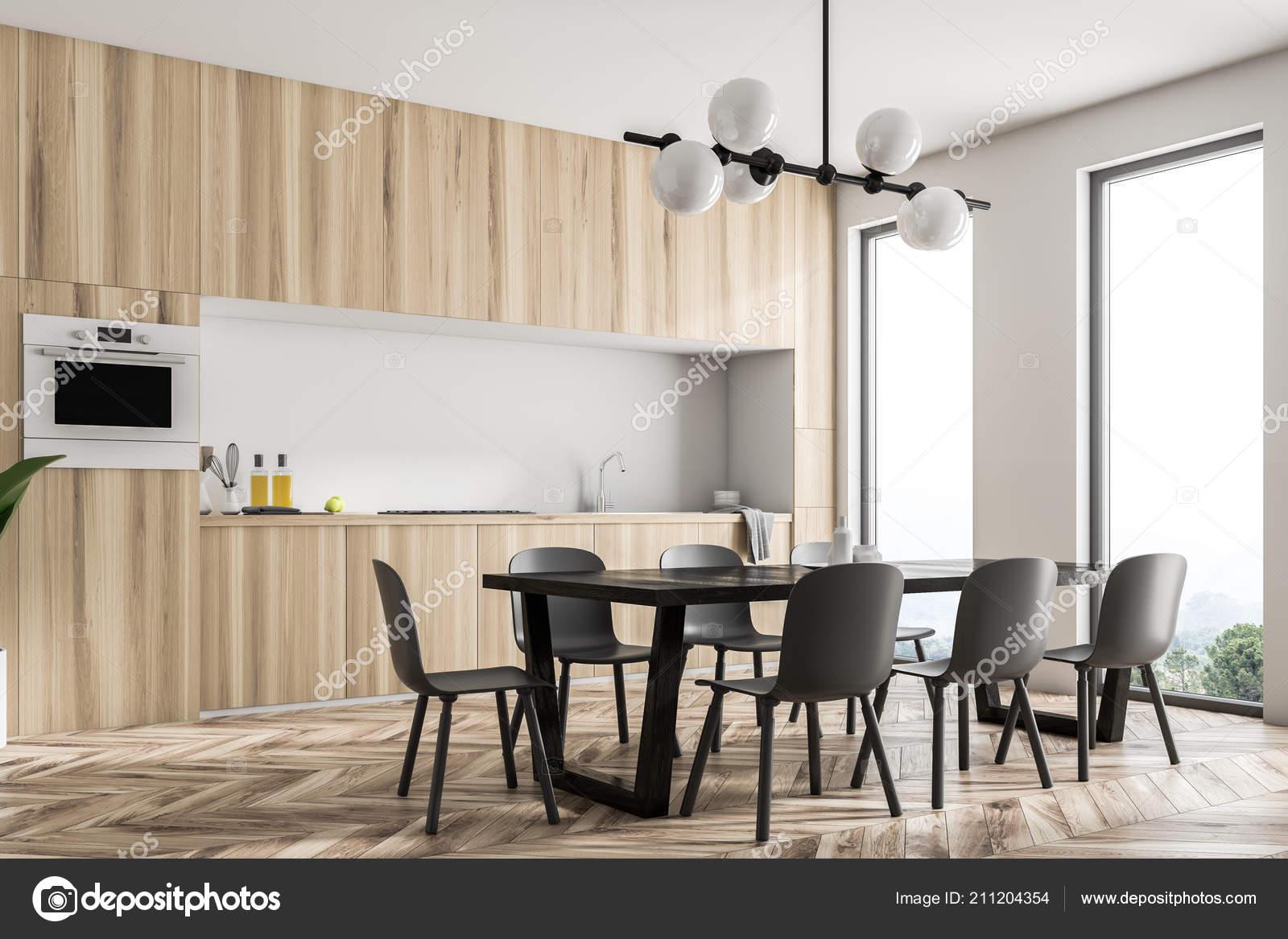 Arbeitsplatte Als Tisch An Wand.Moderne Weiße Wand Küchenecke Mit Panoramafenstern Ein
