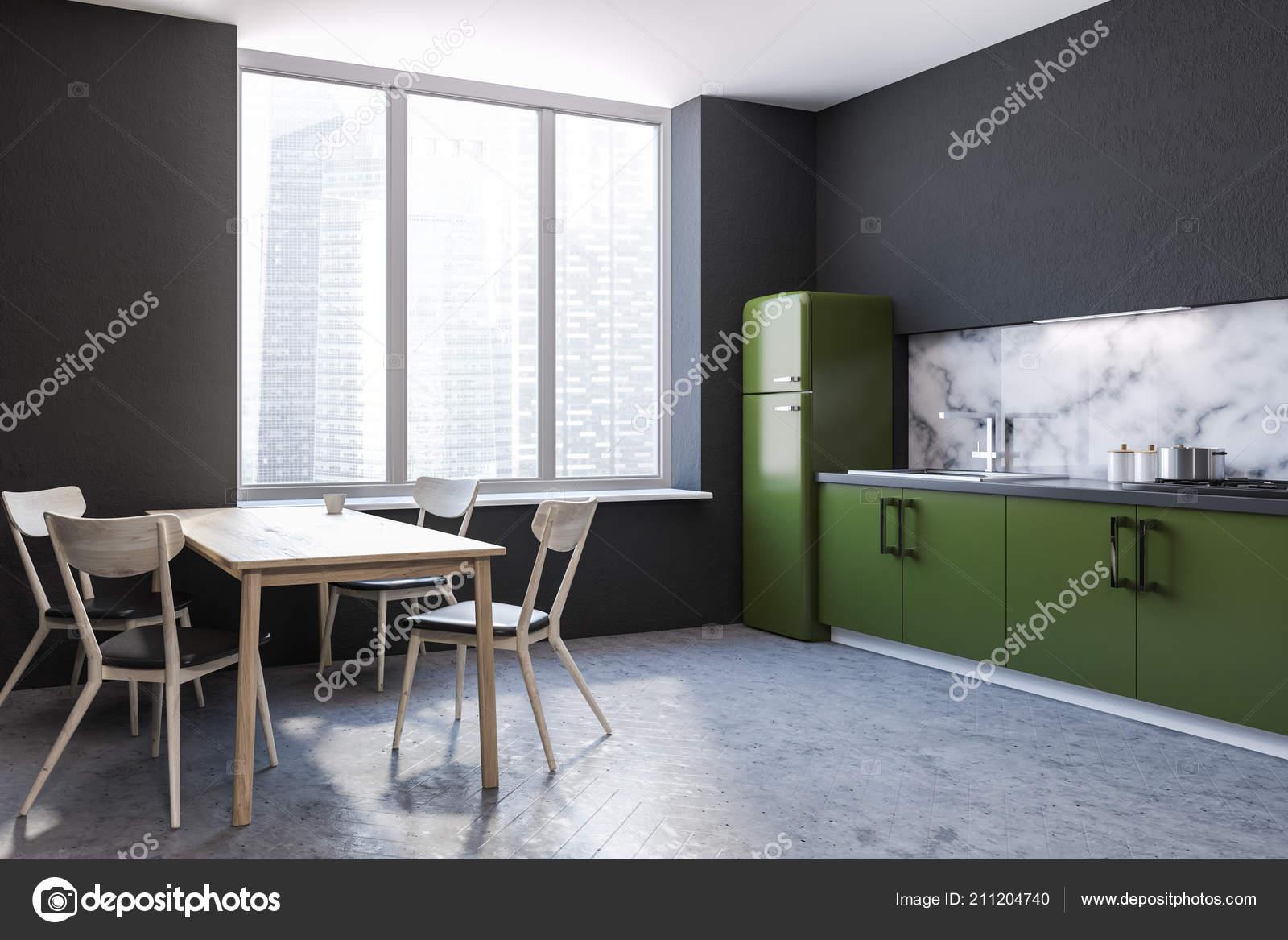 Modern Marble Wall Kitchen Corner Large Windows Concrete Floor Green Stock Photo C Denisismagilov 211204740