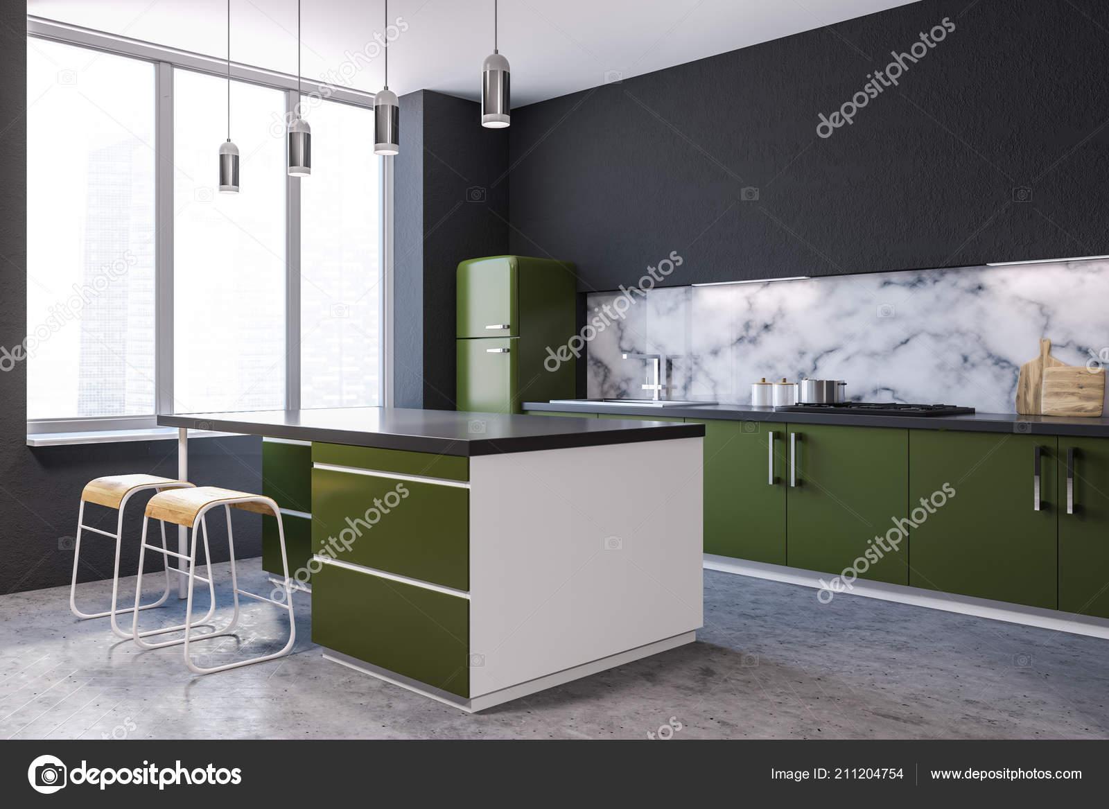 Angolo Cucina Moderna Parete Marmo Con Grandi Finestre Pavimento ...