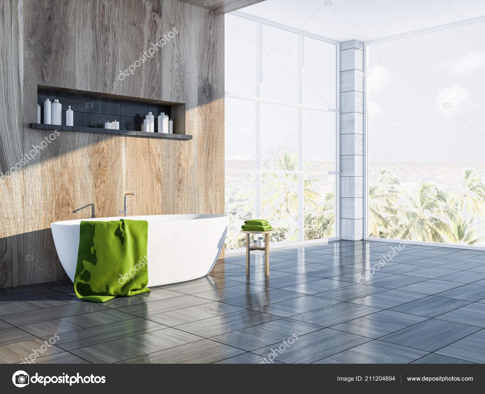Moderno grigio legno piastrella parete bagno angolo con pavimento