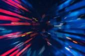 Červené a modré rozmazané červí rozhraní. Koncept hi tech a budoucnost technologií. Tónovaný obraz mock