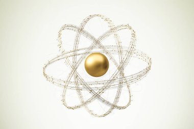 Golden abstract atom nucleus model over a white yellow background. Concept of science and research. 3d rendering mock up