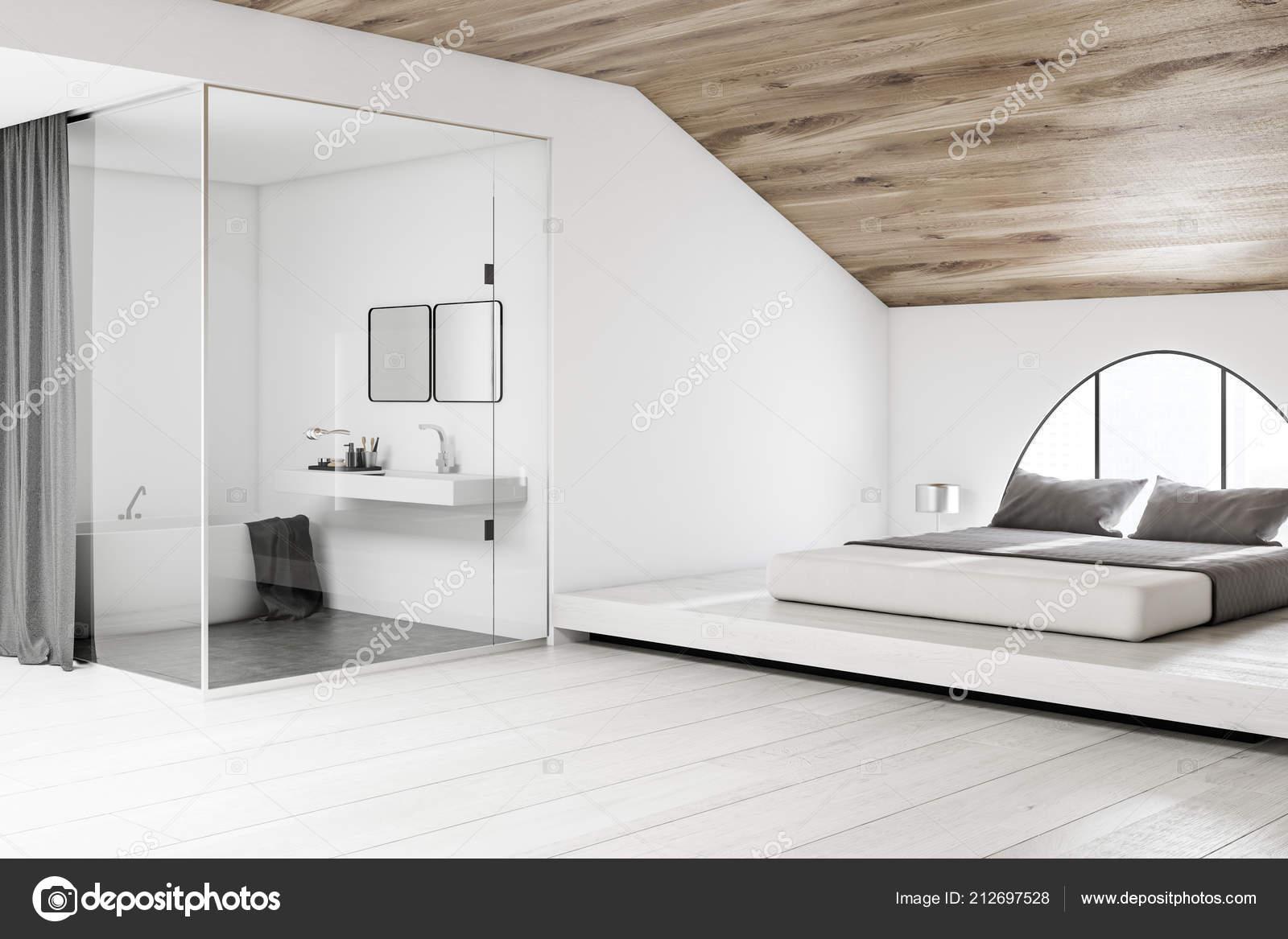 Narożnik Sypialnia Poddaszu Wzorca łóżko łazienka