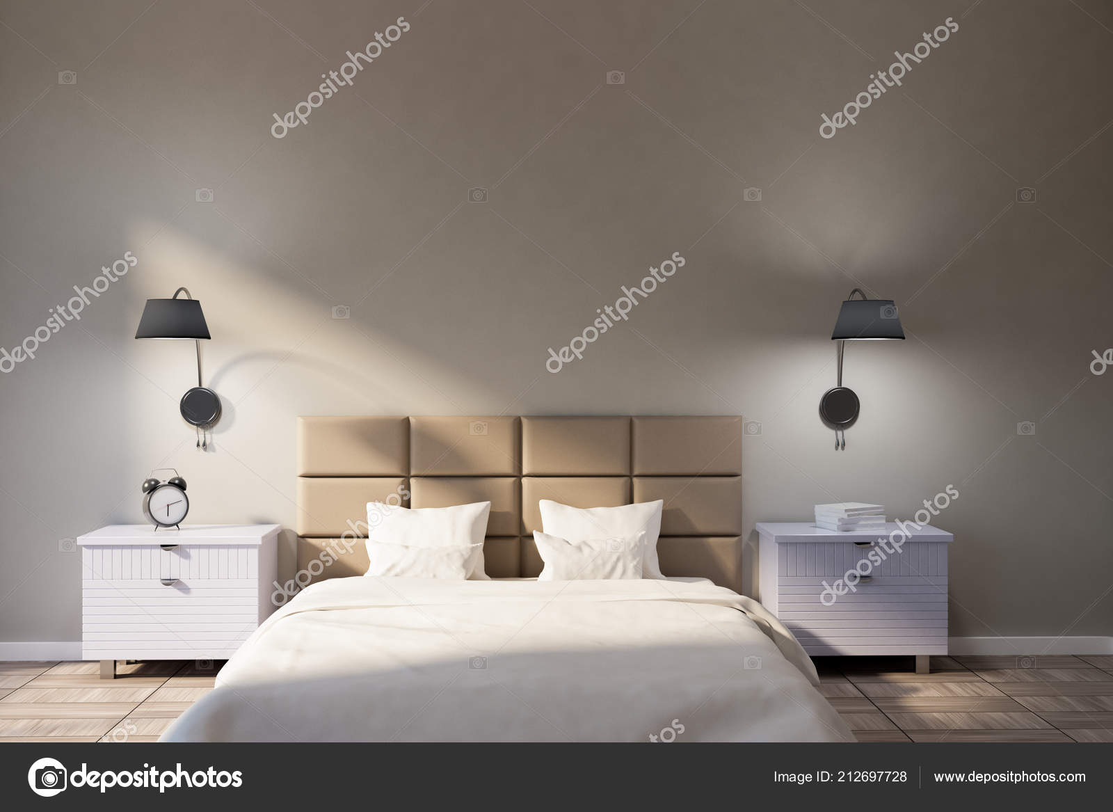 Minimalistic Bedroom Interior Beige Walls Wooden Tile Floor