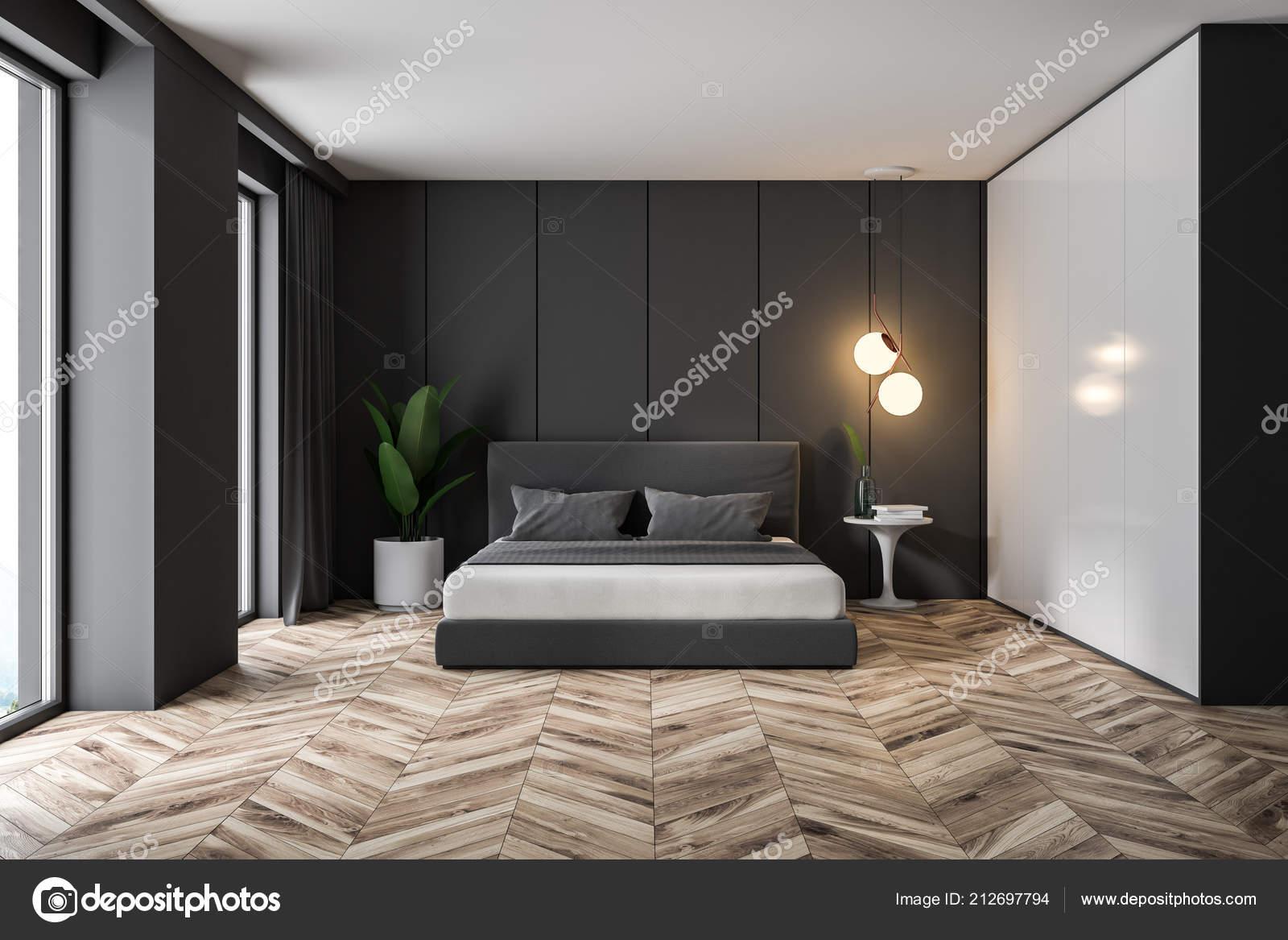 Holzfußboden Schlafzimmer ~ Innere des luxus loft schlafzimmer mit grauen panel wände