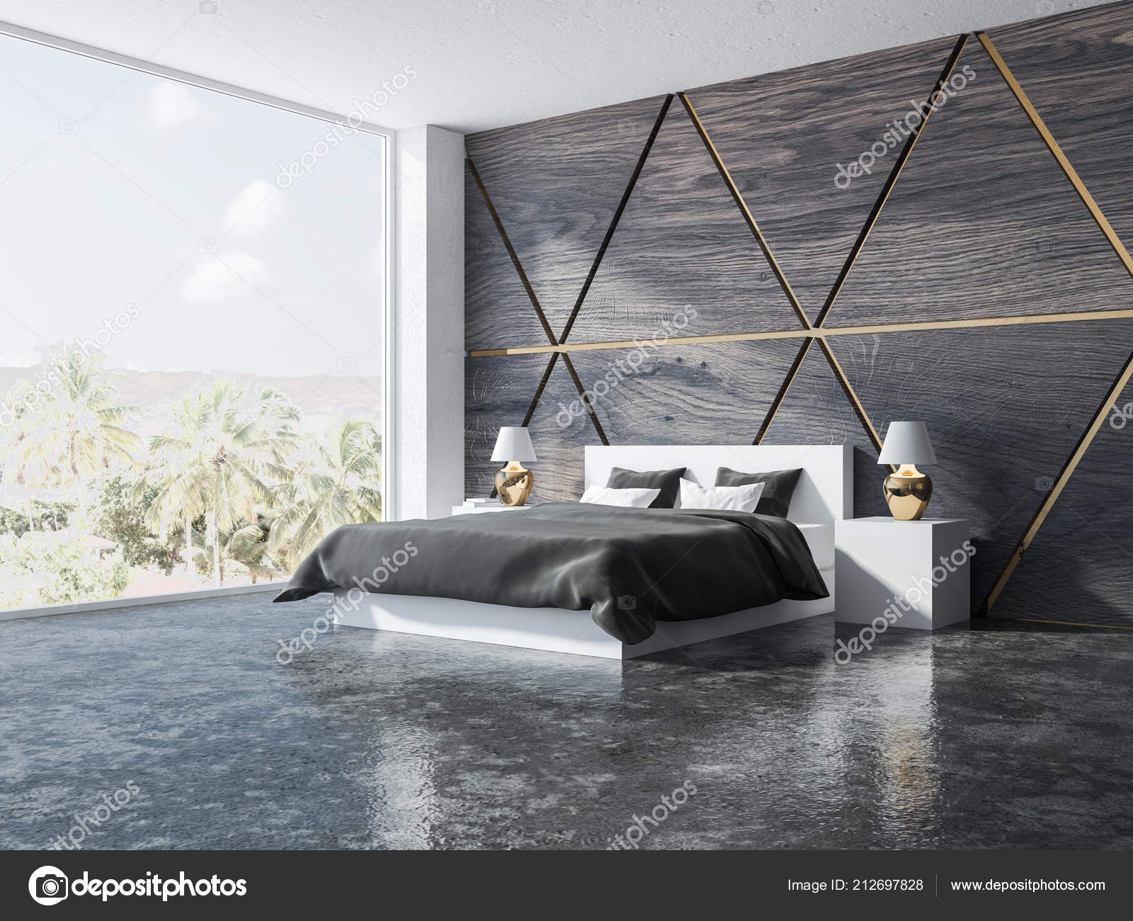 Trójkątny Wzór Sypialni Drewniane Złoty Róg Podłogi Kolorze