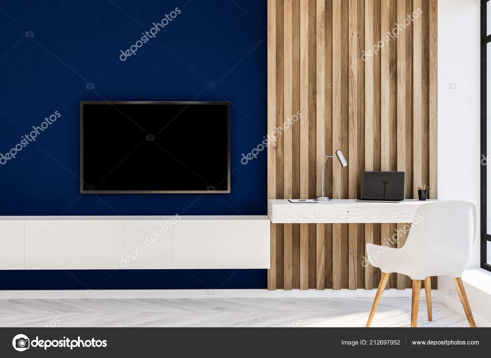 Vue face bureau style maison bleu bois mur salle séjour