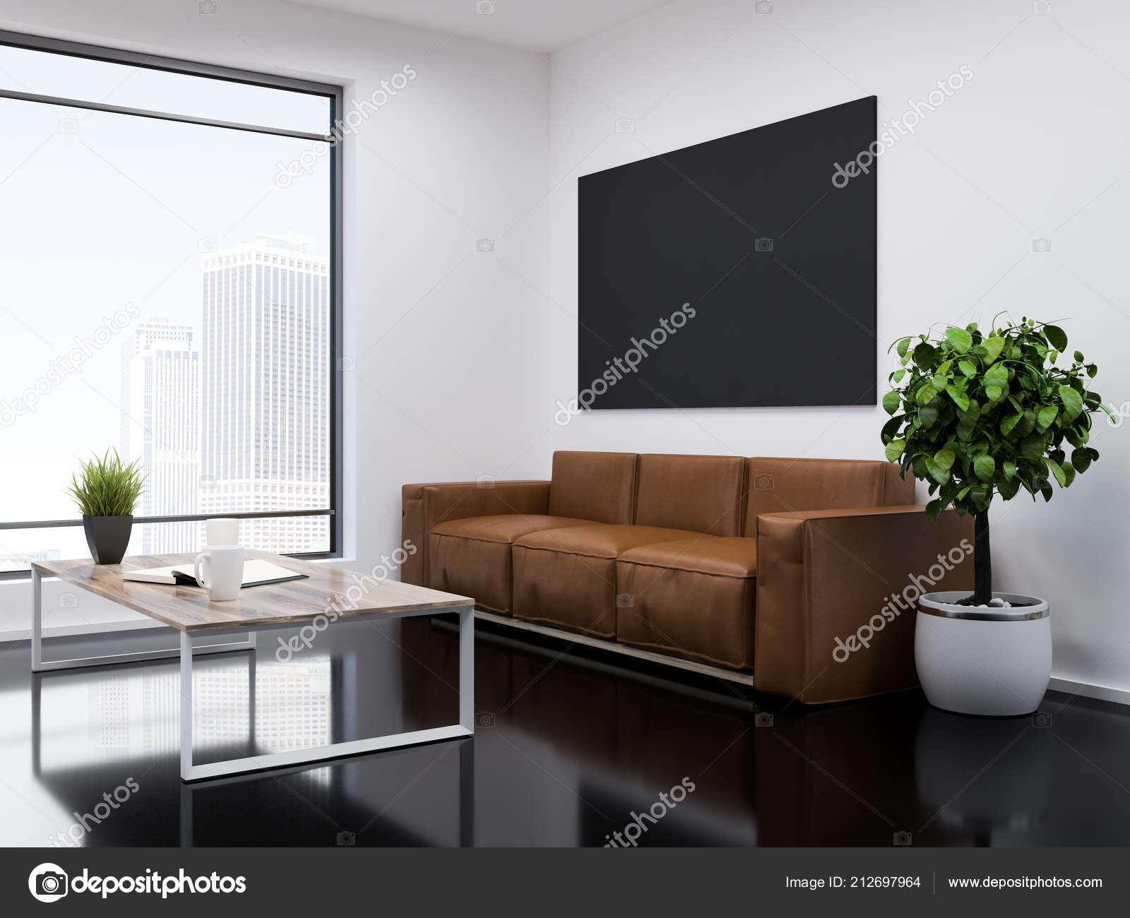 White wall office waiting room interior with a black glass like floor, a  long leather sofa and a coffee table. Loft window with modern cityscape.  Tree