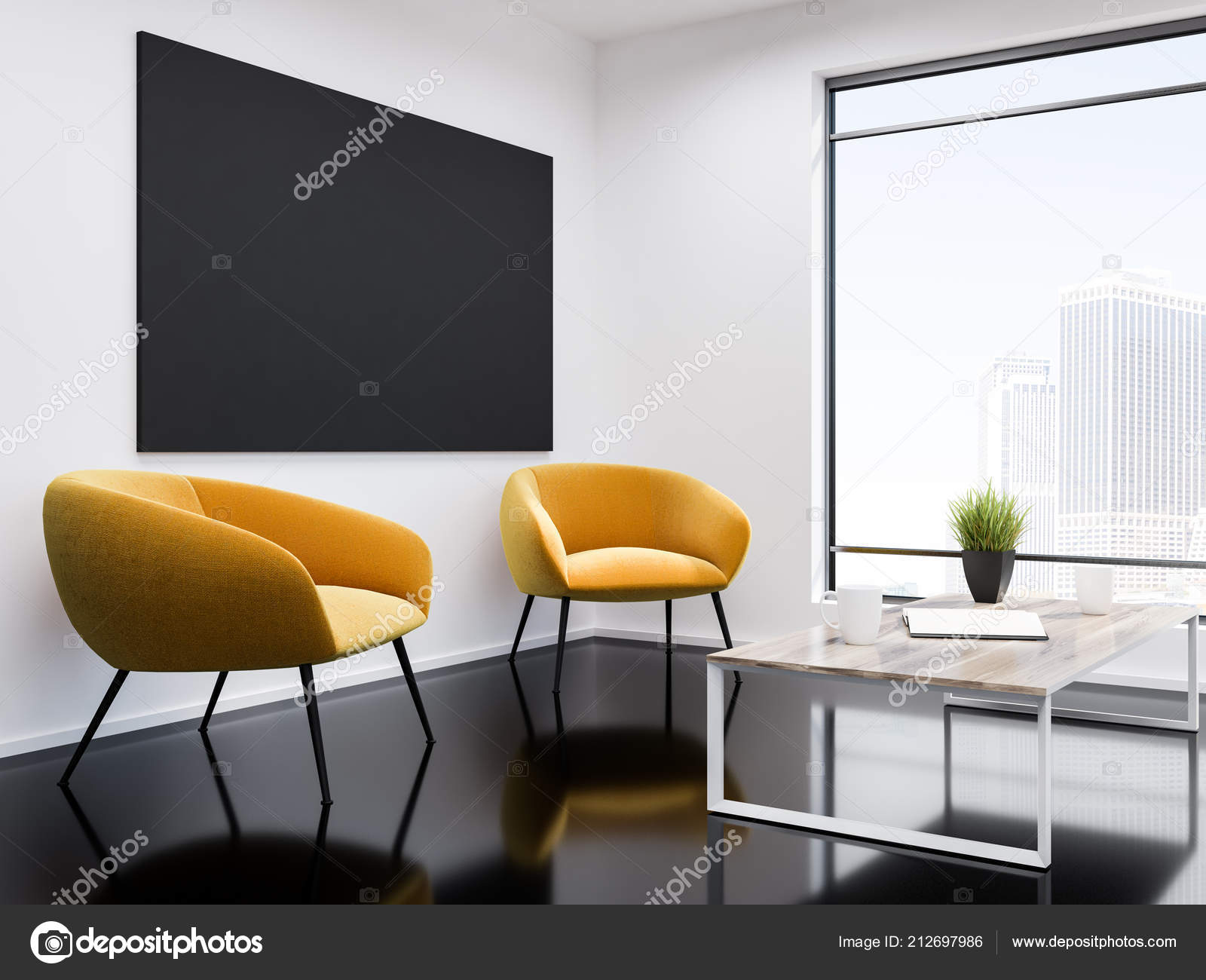 White Wall Office Waiting Room Interior Black Glass Floor