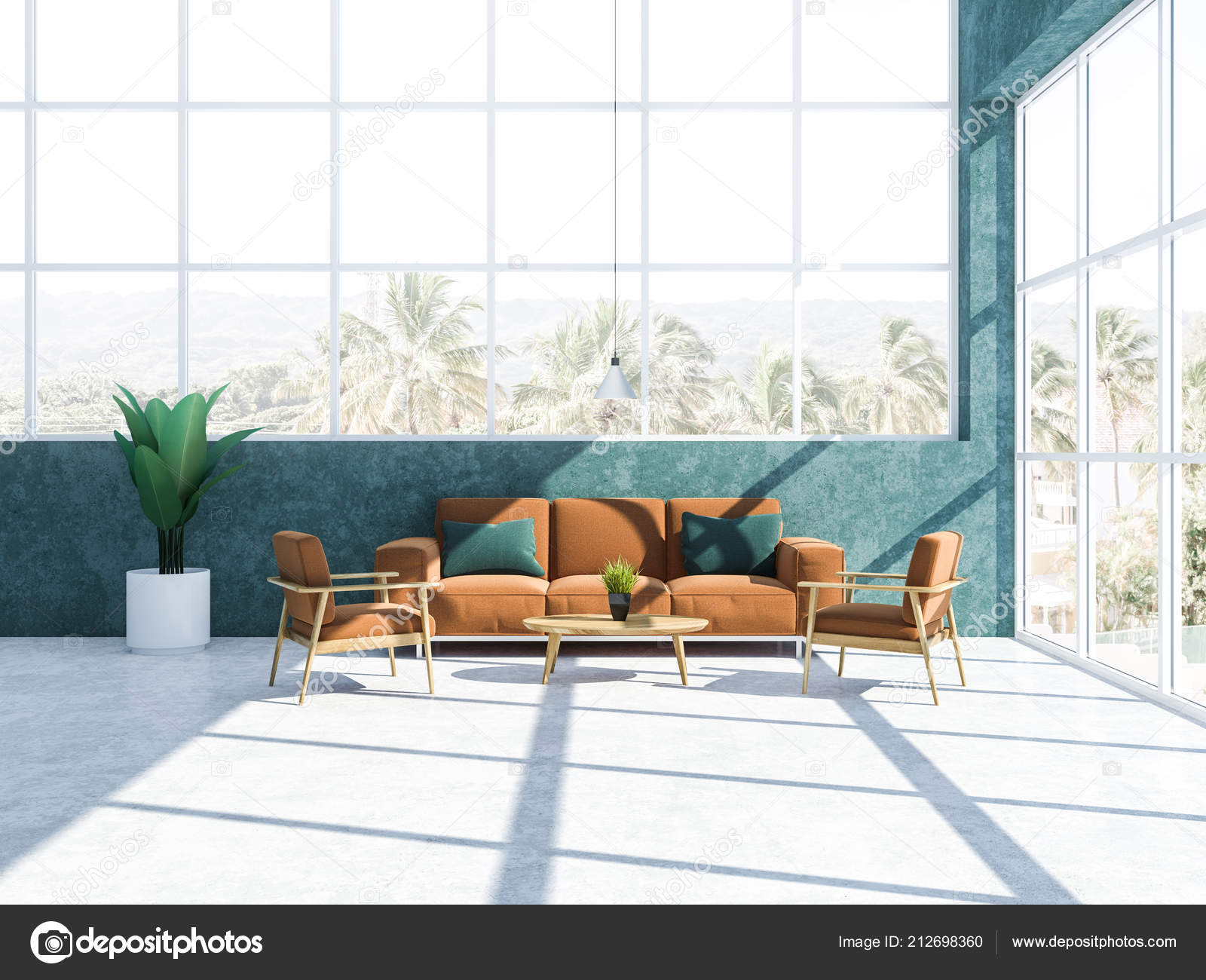 Pleasant Stylish Living Room Interior Blue Green Walls Large Windows Bralicious Painted Fabric Chair Ideas Braliciousco