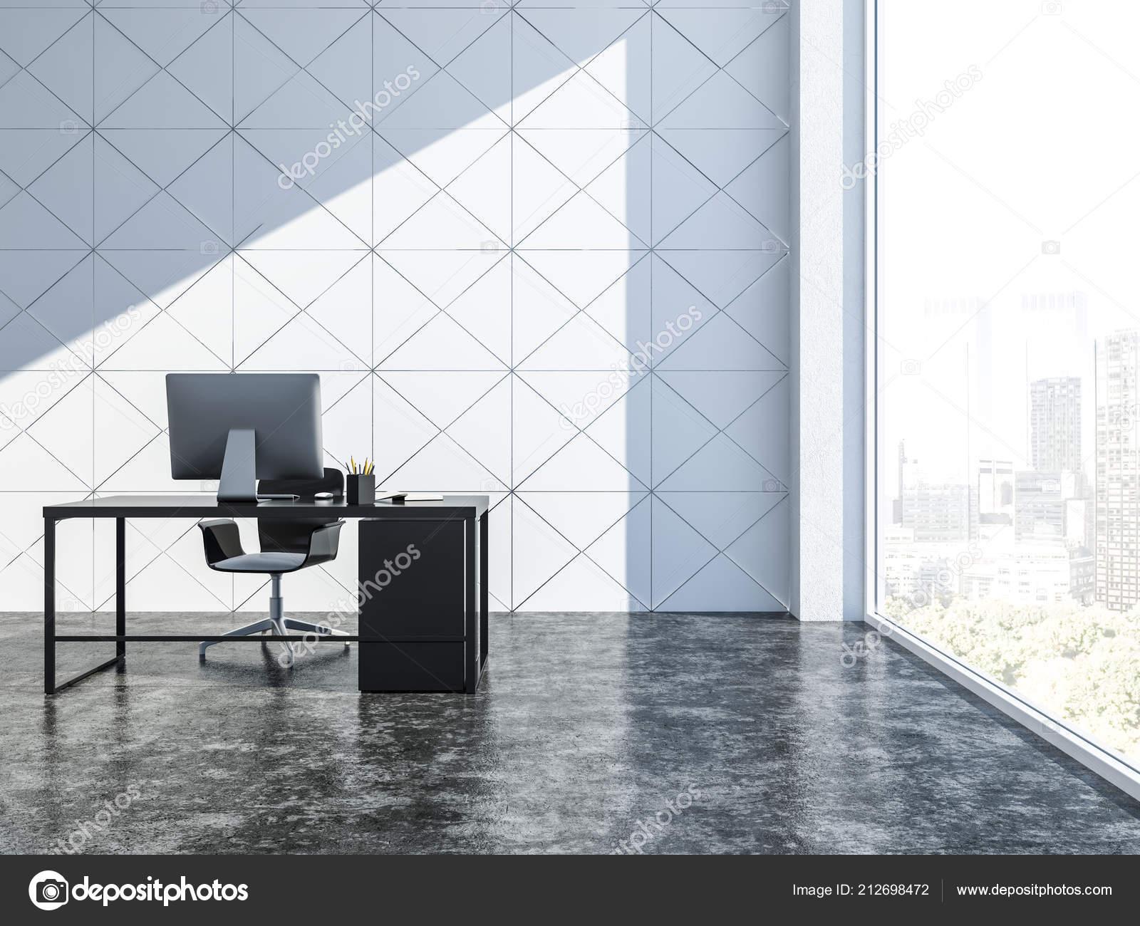 Intérieur gestionnaire bureau blanc triangulaire faience murs