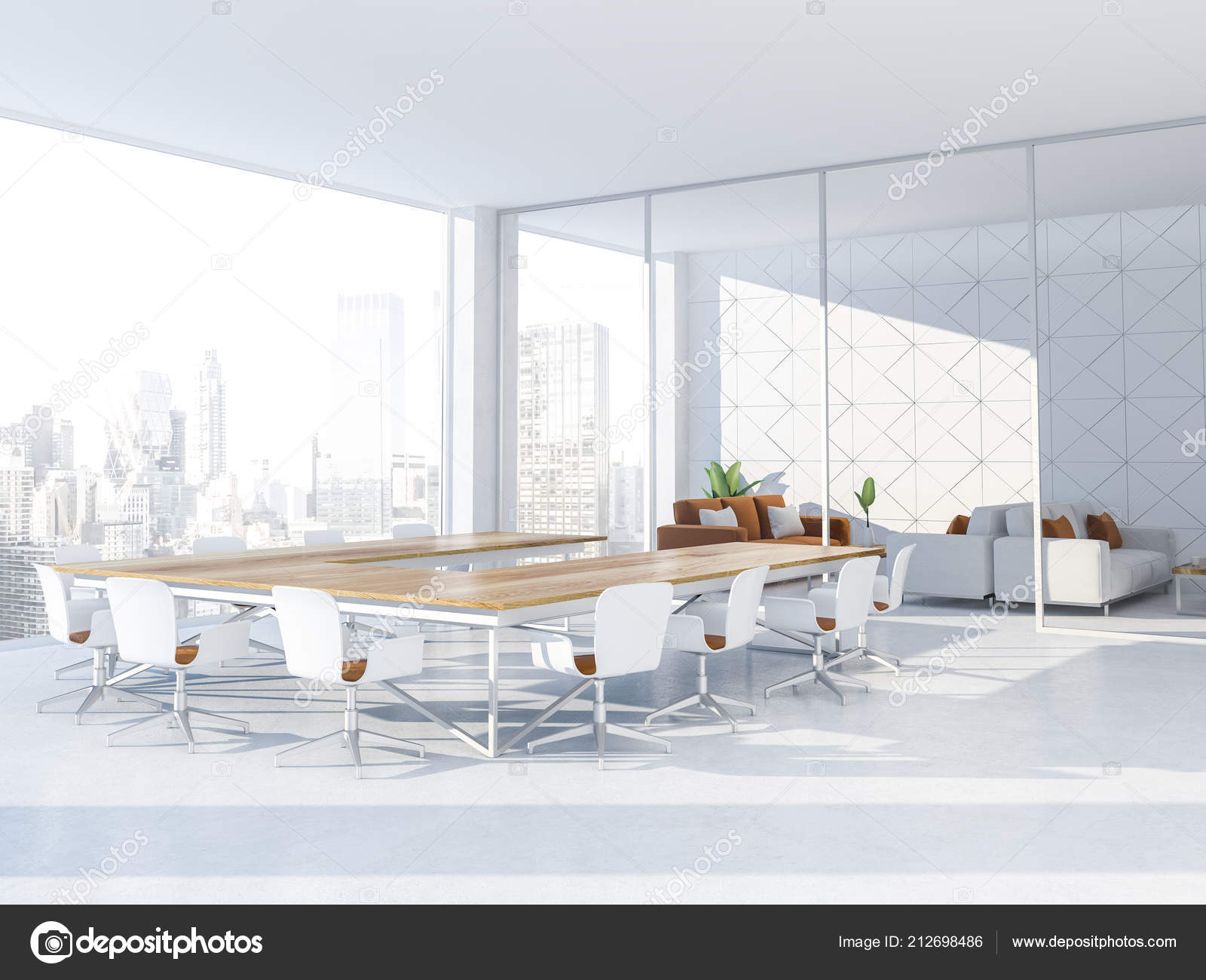 white triangular tiled conference room interior panoramic window