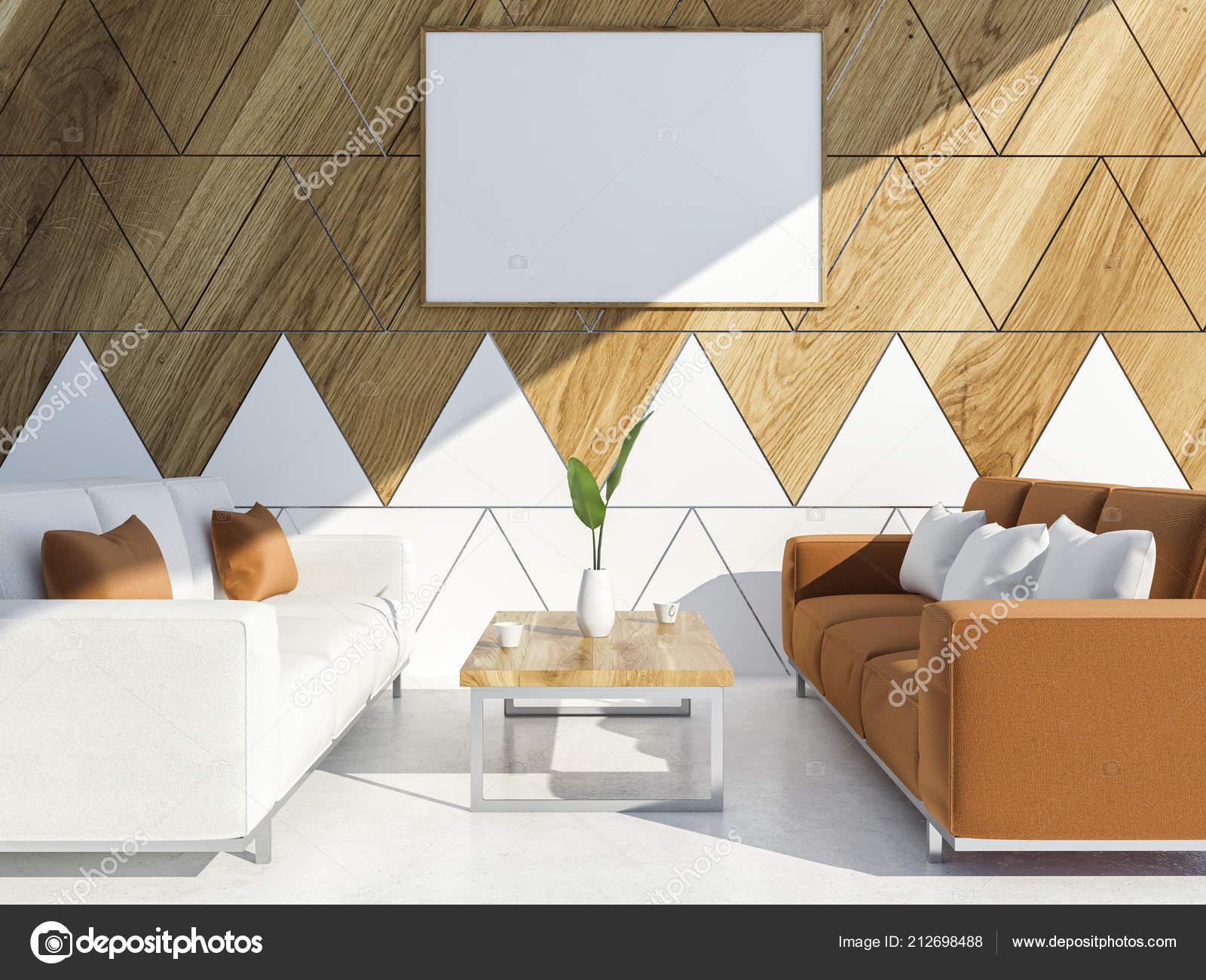 Bureau moderne blanc bois triangulaire tuiles salon intérieur avec
