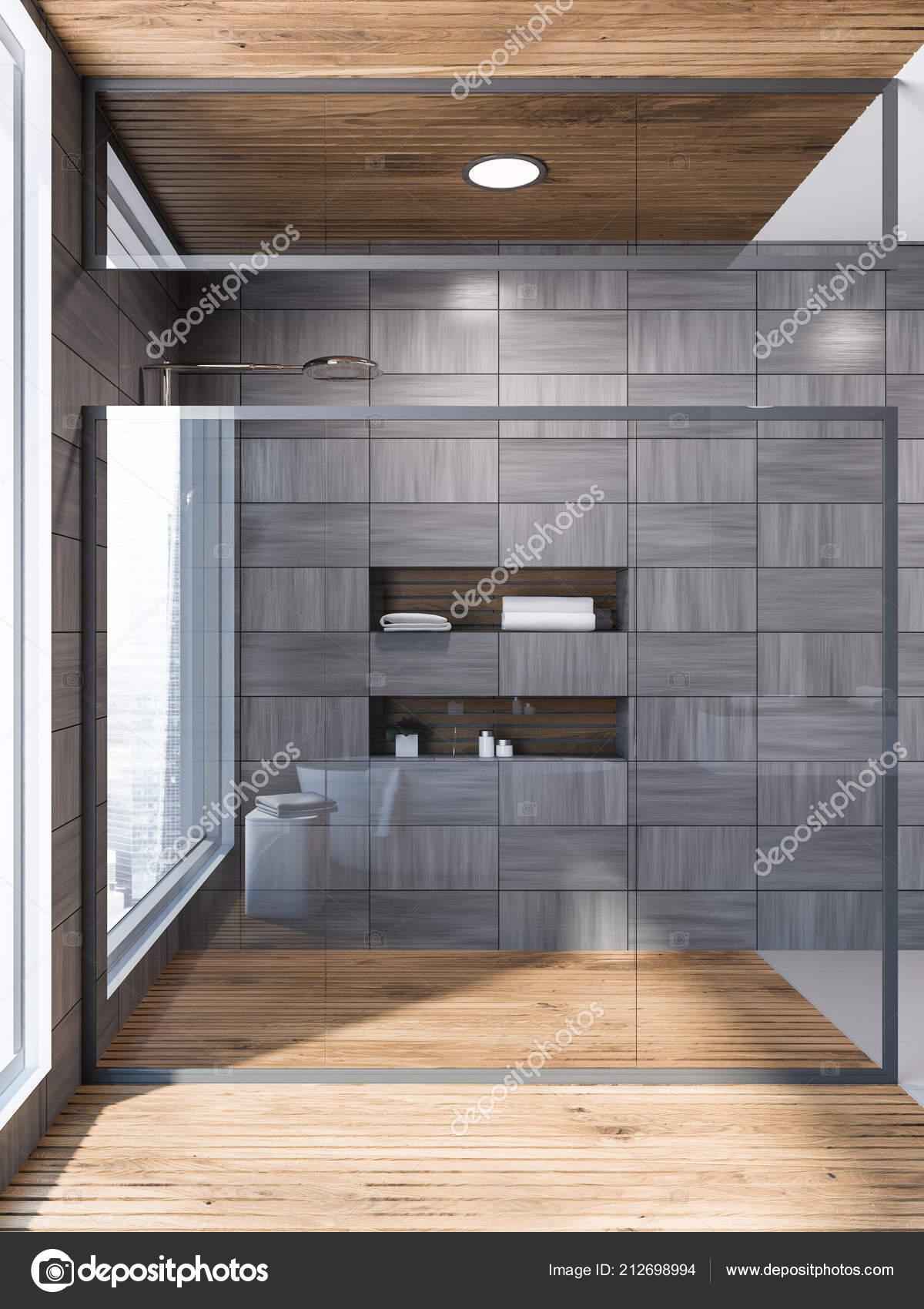 Glazen Muur Badkamer.Moderne Grijs Houten Betegelde Muur Badkamer Interieur Met