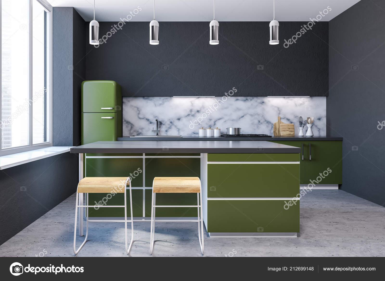 Interiore Della Cucina Moderna Parete Marmo Con Grandi Finestre ...