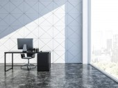 Interior of manager office with white triangular tiled walls, a concrete floor, panoramic window with skyscrapers and a black table with computer on it. 3d rendering copy space