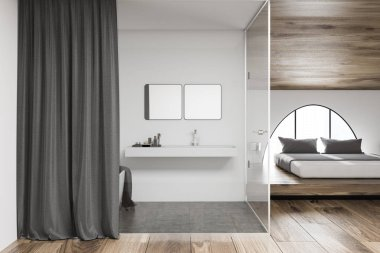 Interior of modern bathroom with gray curtain, sink with two square mirrors and a bathtub. Scandinavian bedroom with double bed on the right. 3d rendering mock up