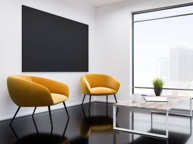 White wall office waiting room interior with a black glass like floor, two yellow armchairs and a coffee table. Loft window with modern cityscape and a tv set. 3d rendering mock up