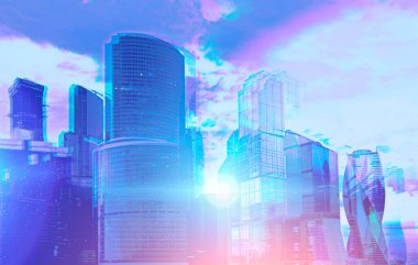 Moscow city panoramic view on a sunny day. 3d glasses like visual effect. Concept of city life, megapolis and business. Toned image double exposure mock up