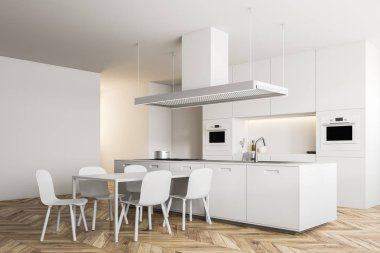 Modern kitchen inteiror with white walls, wooden floor, white island and countertops and a dining room table with chairs. 3d rendering mock up