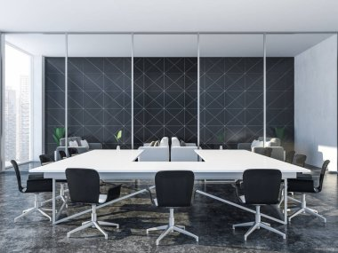 Black triangular tiled meeting room interior with panoramic window, a gray floor and a white table with black chairs around it. Lounge in the background. Corporate life concept 3d rendering copy space