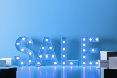 Glowing light bulbs blue sale sign standing in a blue room with closed white cardboard boxes. Concept of successful business and consumerism. 3d rendering copy space