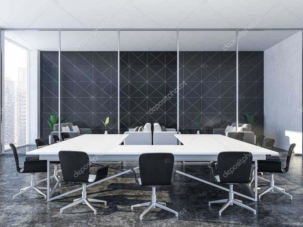 Sala riunioni piastrellati triangolare nero interni con finestra