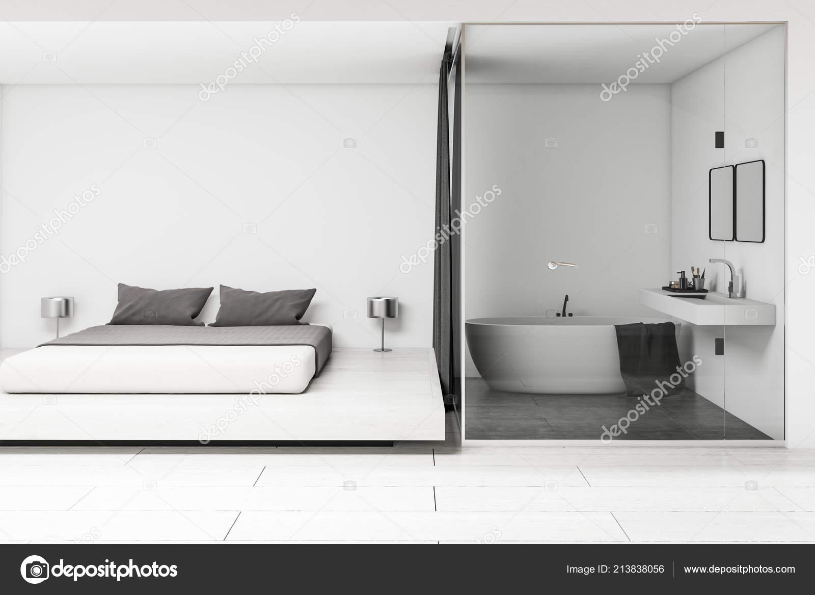 Intérieur Salle Bains Blanche Moderne Avec Lavabo Avec Deux Miroirs ...