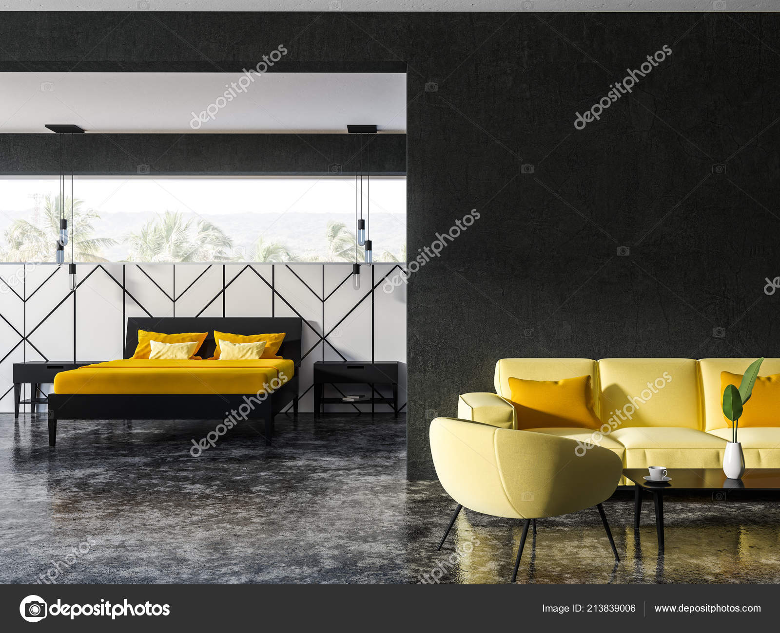 Black White Living Room Interior Soft Yellow Couch Armchairs ...