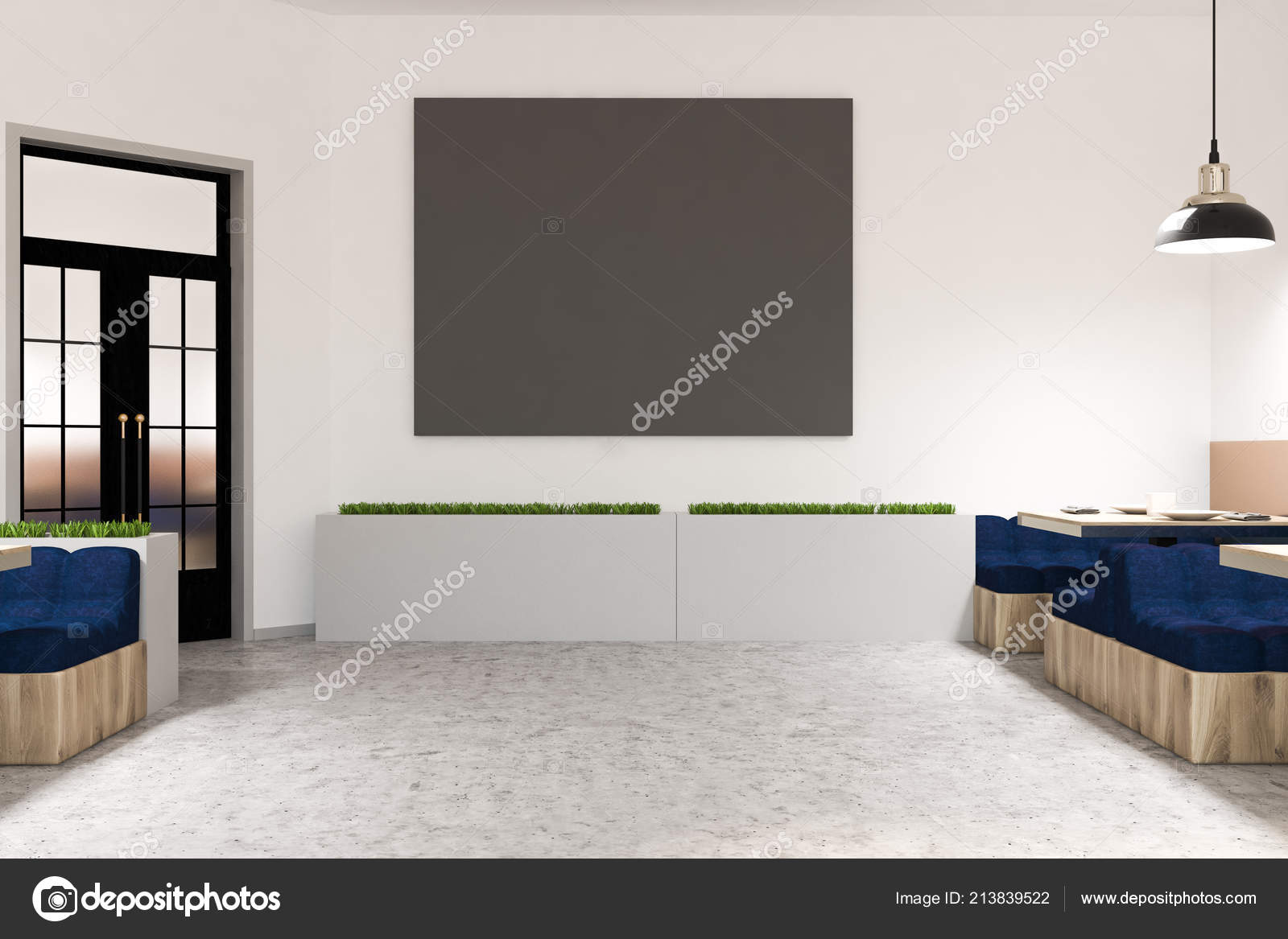 Comfortable Cafe Interior White Walls Marble Floor Square Tables Soft Stock Photo C Denisismagilov 213839522