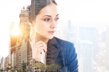Pensive young businesswoman head and shoulders portrait in a morning city. Business lifestyle concept. Toned image double exposure copy space stock vector