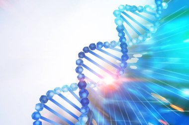 Blue diagonal dna helix over white and abstract blue background. Biotech, biology, medicine and science concept. 3d rendering mock up toned image