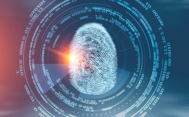 Fingerprint in hud and immersive interface over blurred blue red background. Concept of hi tech and identification. Toned image double exposure. 3d rendering