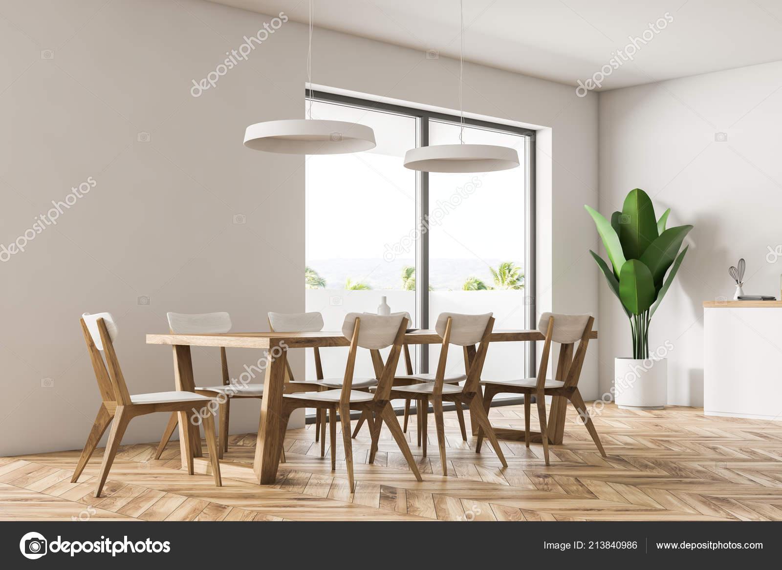 Coin Salle Manger Moderne Avec Des Murs Blancs Plancher Bois ...