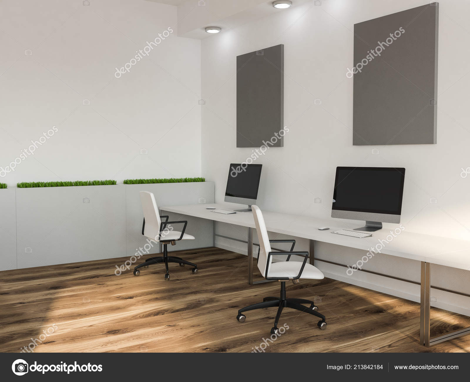 Black Computer Screens White Office Computer Lab Tables Gray