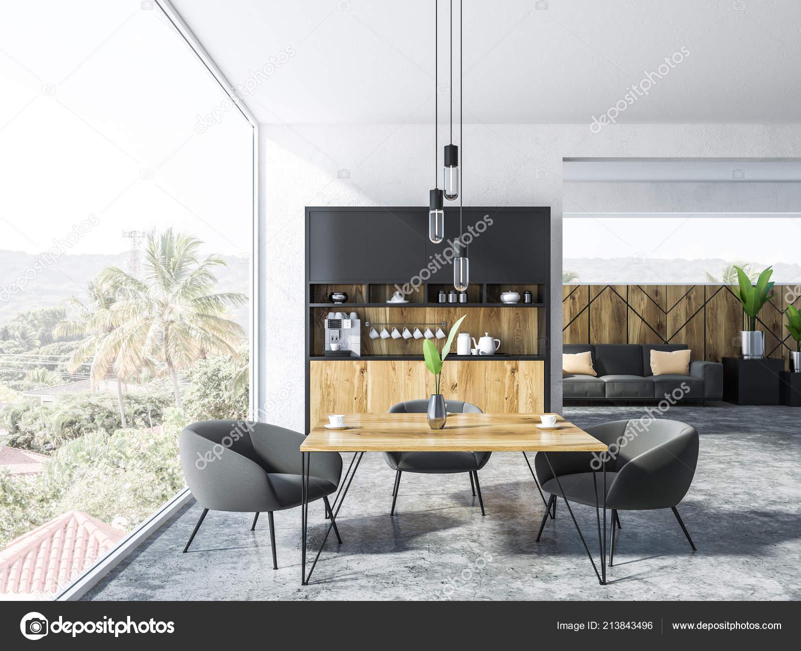 Picture of: Interior Studio Apartment Kitchen Corner Square Table Gray Armchairs Sofa Stock Photo C Denisismagilov 213843496