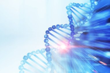 Blue diagonal dna helix over white and abstract dark blue background. Biotech, biology, medicine and science concept. 3d rendering mock up toned image
