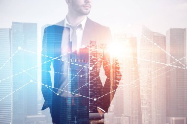 Unrecognizable bearded businessman looking sideways standing with hands in pockets over a cityscape with graphs in the foreground. Toned image double exposure copy space stock vector