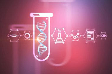 White blue dna helix in test tube over purple background with science and medicine icons. Biotech, biology, medicine and science concept. 3d rendering mock up toned image