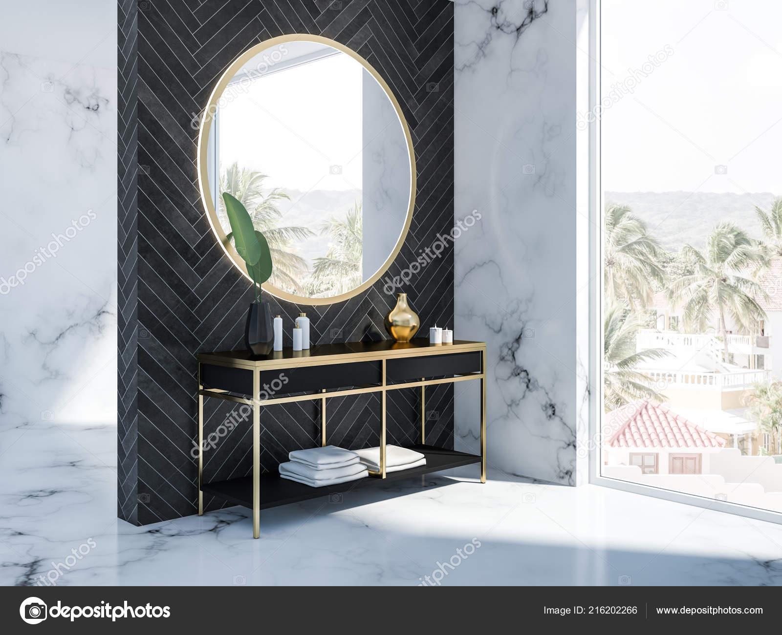 Vue Cote Marbre Blanc Interieur Salle Bain Bois Noir Avec