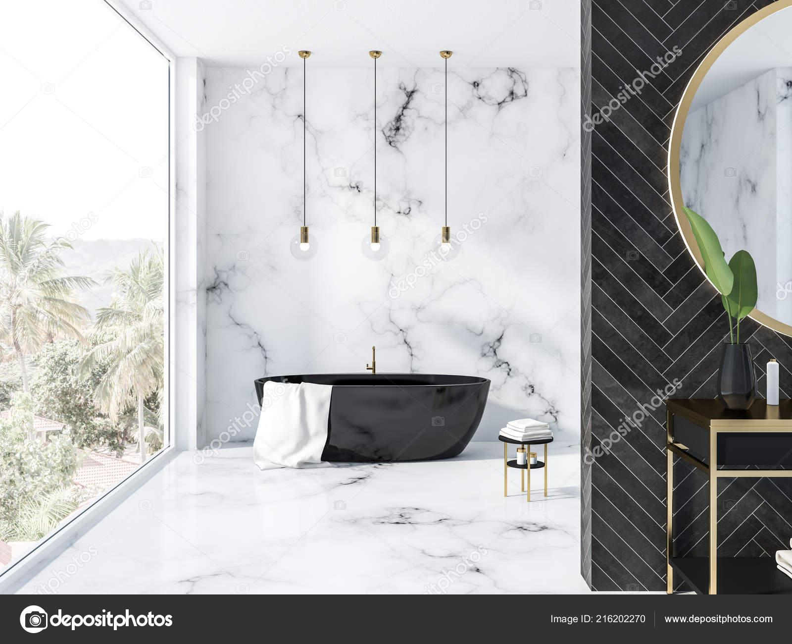 Badkamer Met Marmer : Wit marmer zwarte houten badkamer interieur met een zwarte badkuip