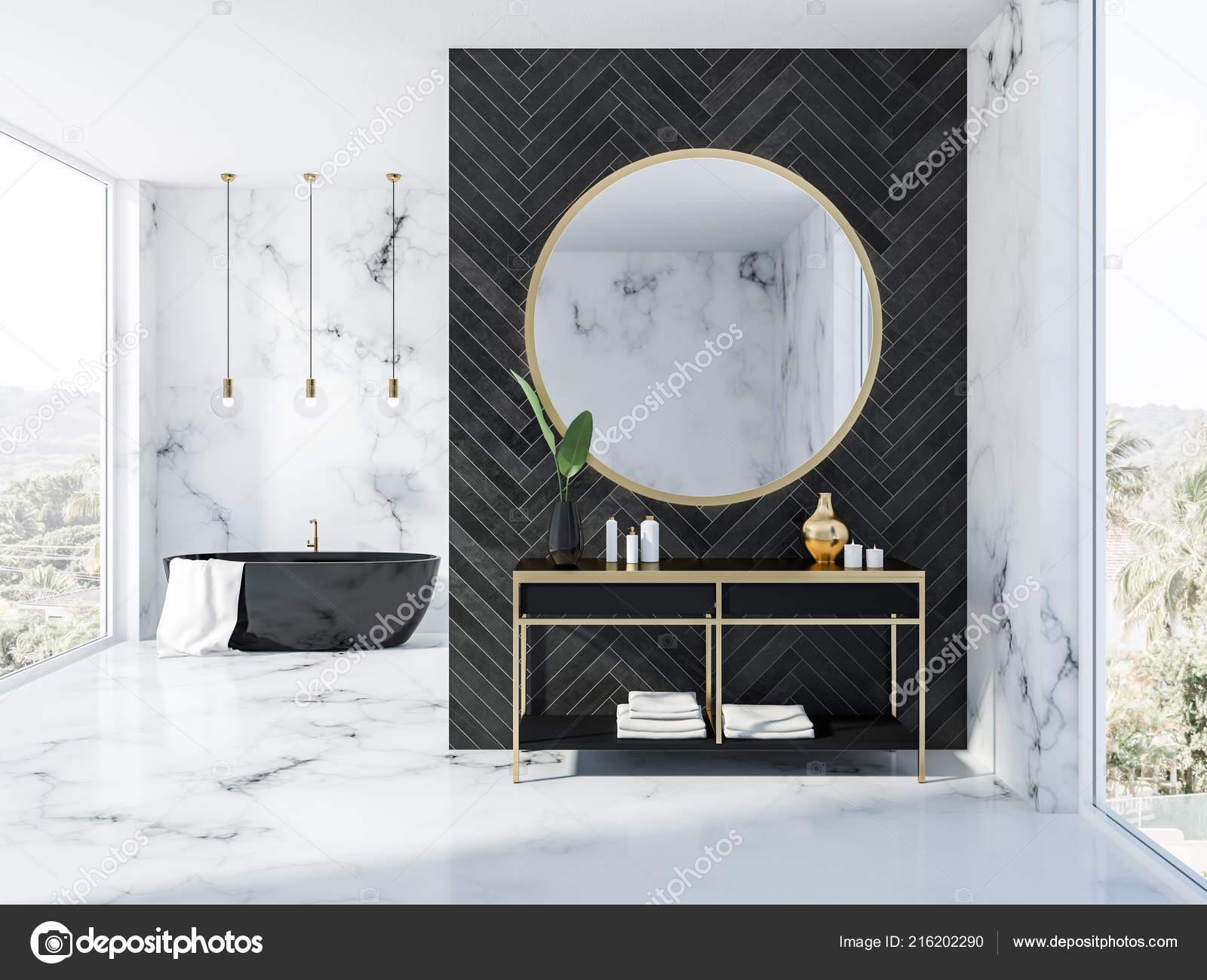 Marbre Blanc Intérieur Noir Bois Salle Bain Avec Baignoire ...